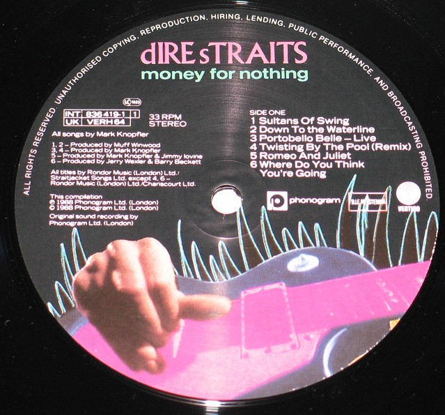 "Dire Straits Money for Nothing 12"" vinyl LP"