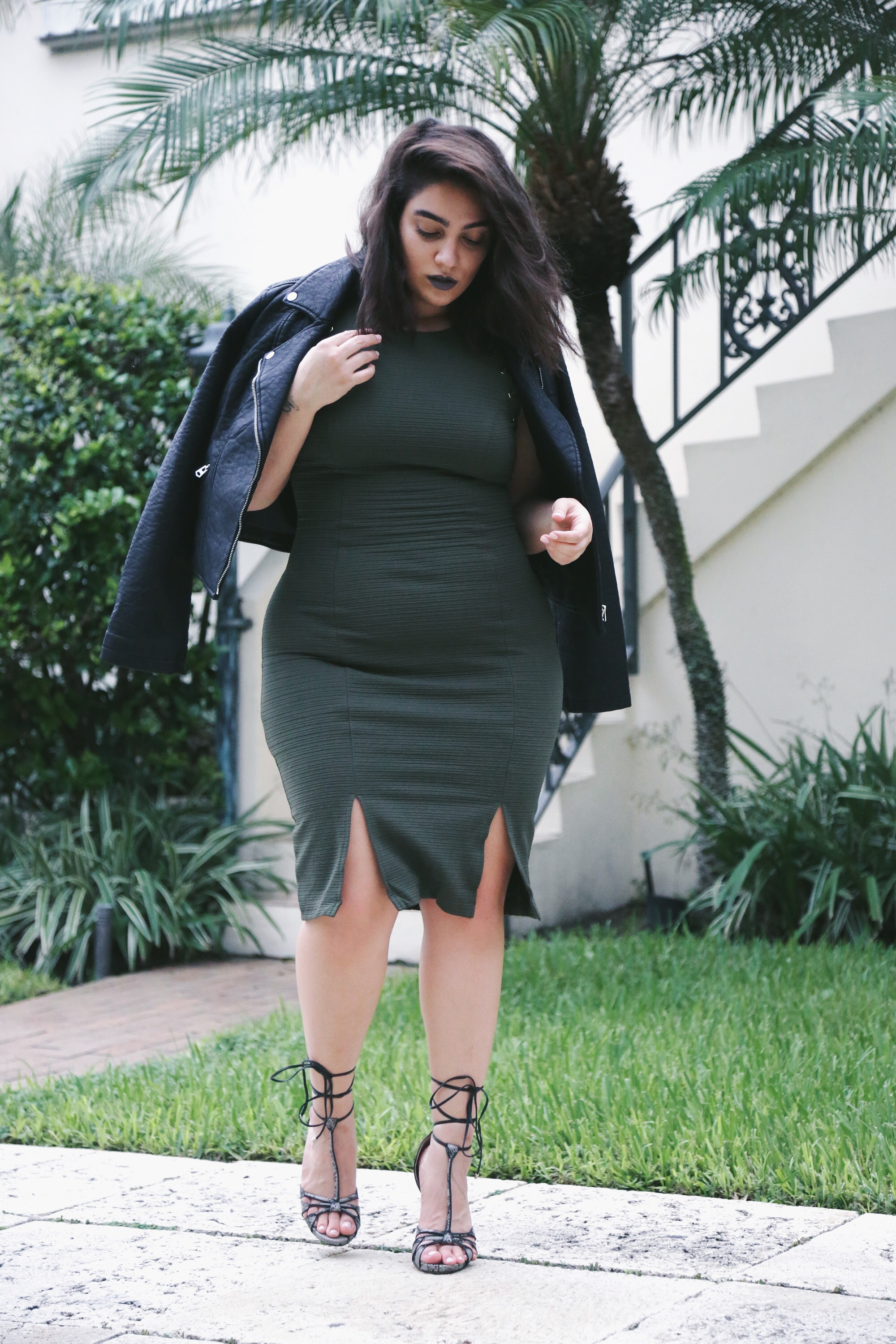 nadia aboulhosn khaki dress