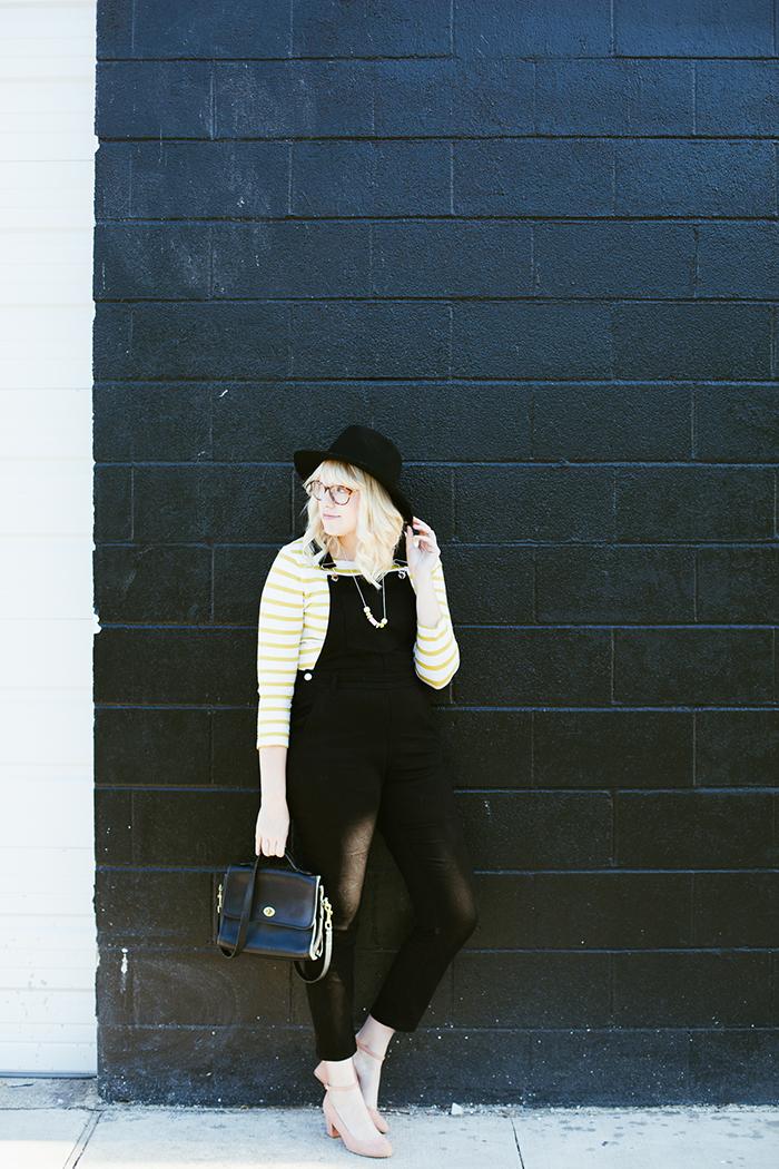 writes like a girl black overalls striped shirt2