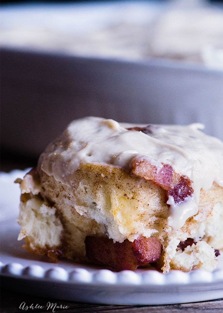 add some bacon to your cinnamon rolls with maple cream cheese frosting! the perfect breakfast food