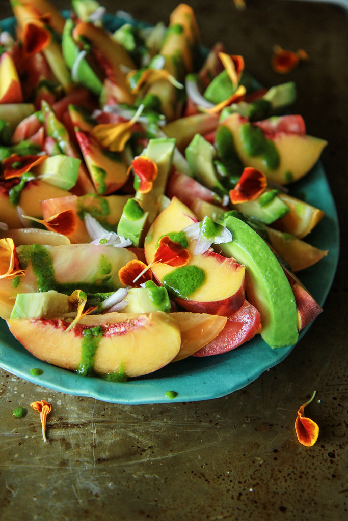 Tomato Peach and Avocado Salad with Cilantro Vinaigrette ...