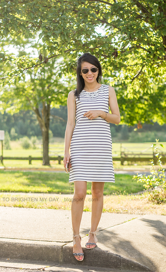 striped shift dress with jewels, gold jewelry, jeweled sandals with tied bow