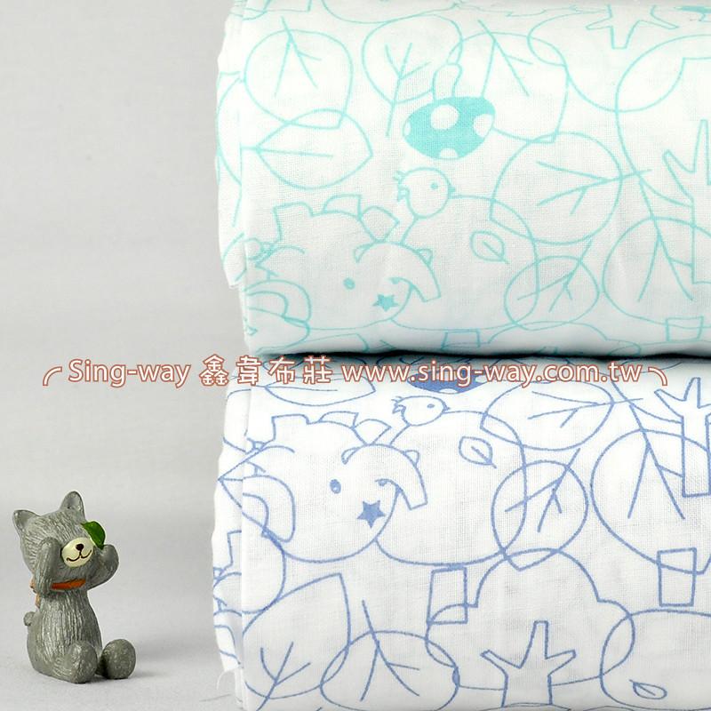 原-香菇樹大象 二重紗 雙層紗 嬰兒紗布衣  手帕 口水巾 布料 雙重紗 CA890033