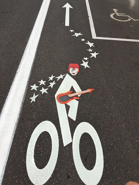 David Bowie bike lane symbol
