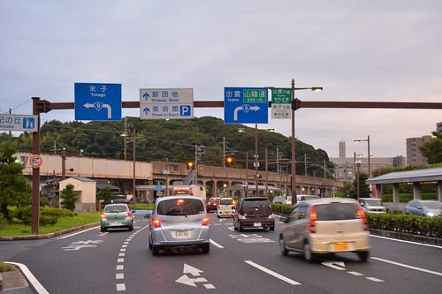 松江市 高架鉄道と市内道路