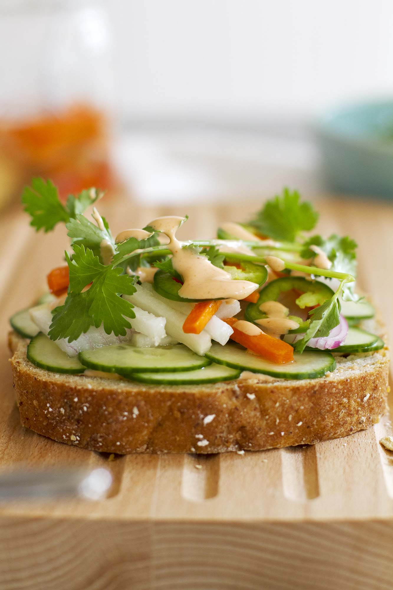Spicy Thai Veggie Sandwich | girlversusdough.com @girlversusdough