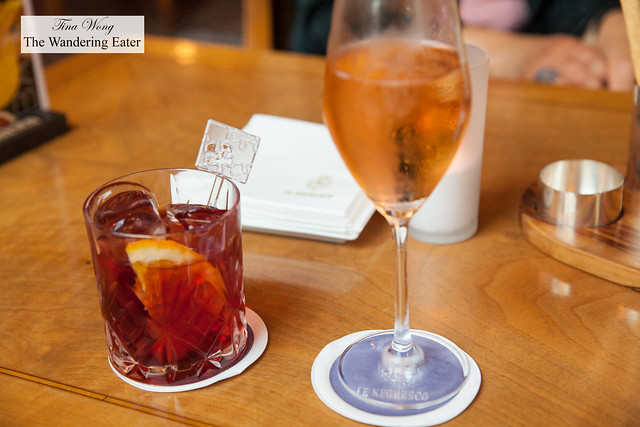 Our drinks - Boulevardier and Rosé Champagne Deutz