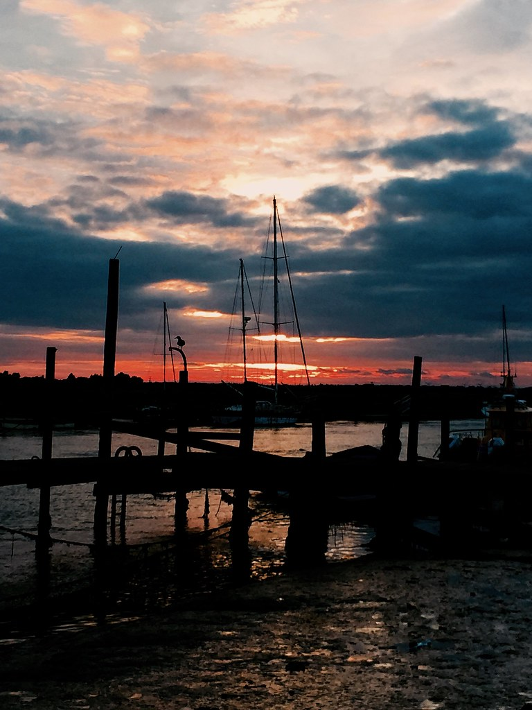Southwold  harbour. Setting Sun