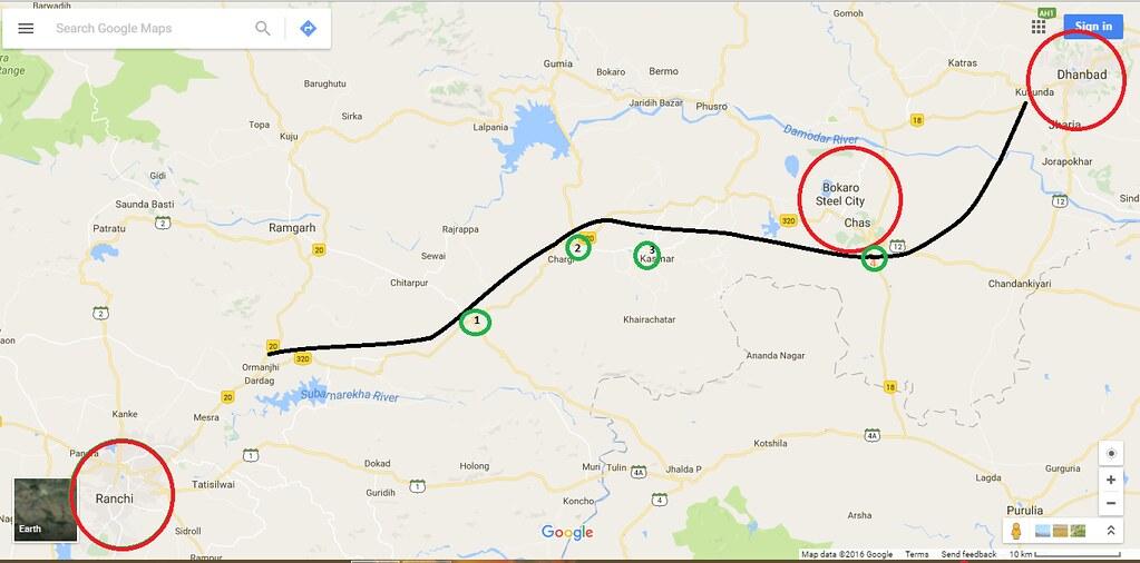 Ranchi Bokaro Dhanbad Jamshedpur Mega Industrial Corridor - Dhanbad map