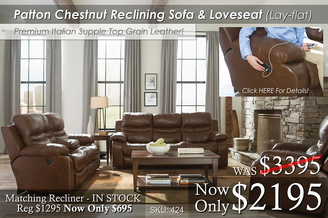 Patton Chestnut Reclining Living Set