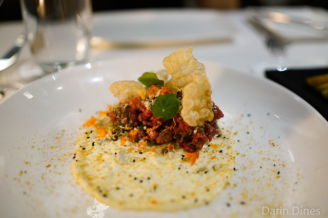 tartare of beef marrow cream / smoked carrot / bleu cheese powder