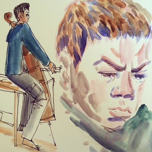 Very busy Friday morning #cello #practice #read #reading #parenting #sketchbook #watercolor #paintingaday #drawingdaily #instaboy #instaart #instaparents
