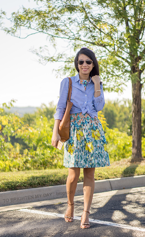french blue striped button up shirt, floral dress, cognac brown tote, jeweled block heeled sandals