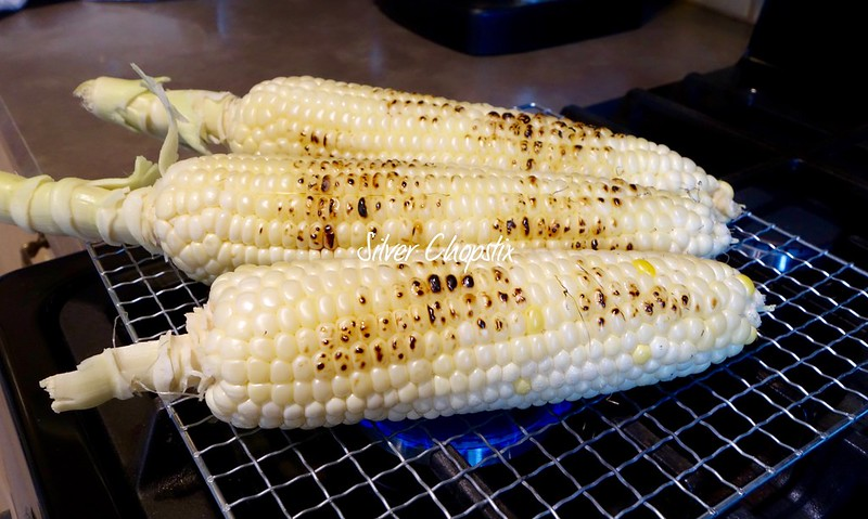 Stove top grilled corn on the cob silver chopstix remove the husk and silk from your corn and give it a quick rinse dry with paper towels place a wire mesh or rack on top of your gas stoveburner and turn ccuart Image collections