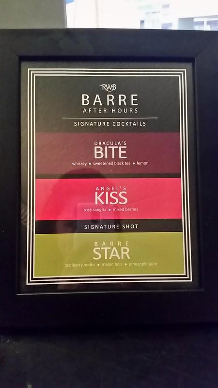 RWB Barre After Hours Cocktail List
