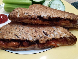 Cheese, tomato and Vegemite toasted sandwich