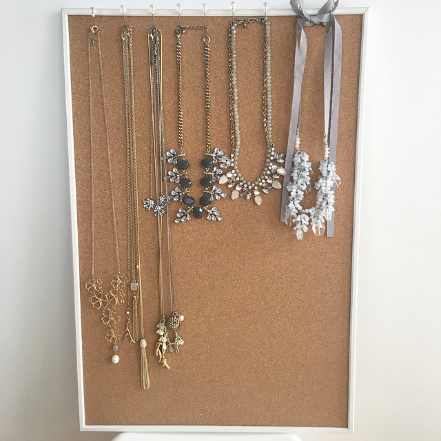 Cork Board Jewelry Organization