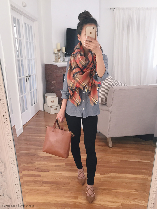 fall outfit idea_nordstrom bp owen lace up flat blanket scarf petites