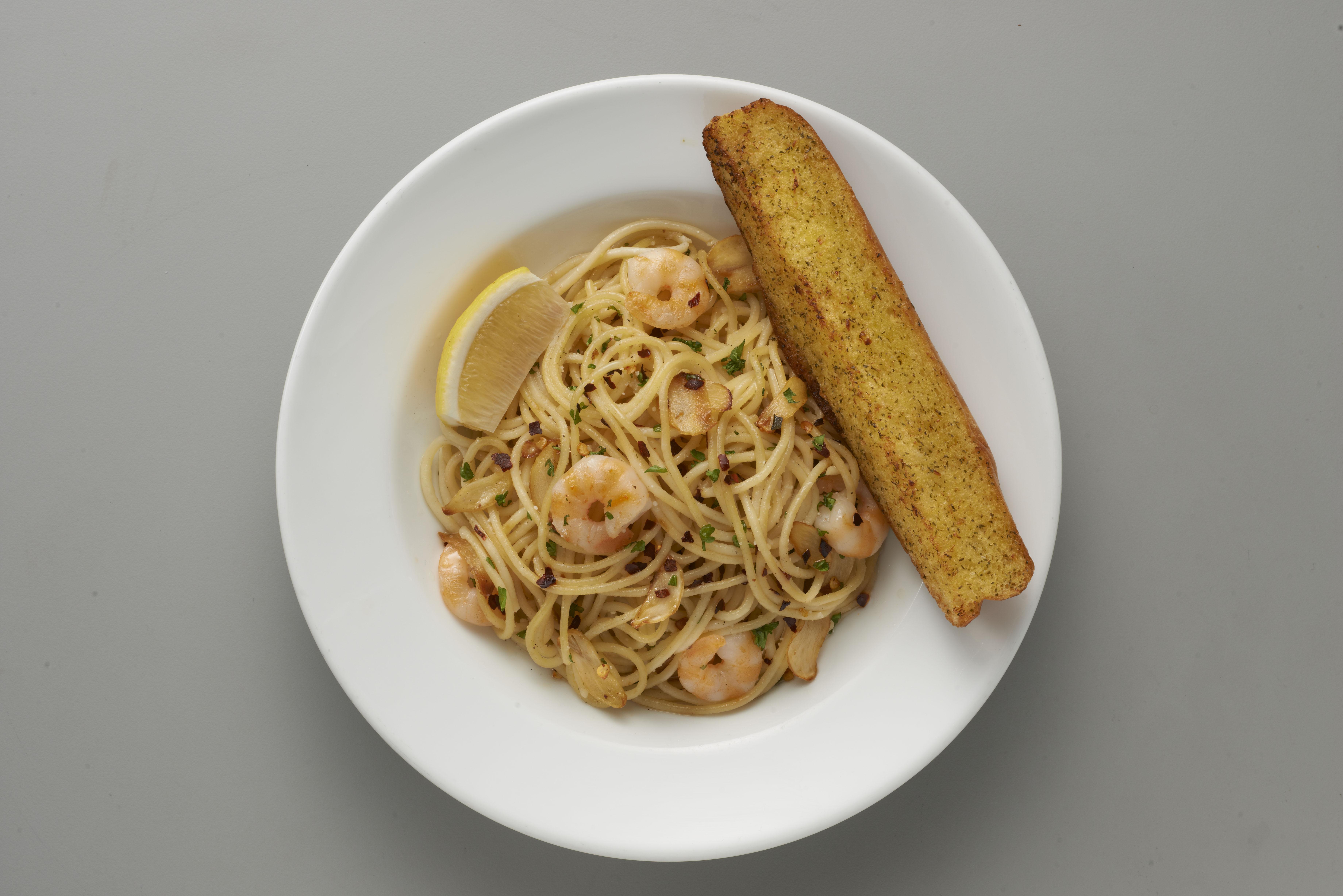 shrimp aglio olio shakeys