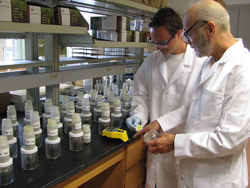 Research assistant Patrick McIntosh (left) and Karl Guillard (right) measure results from a Solvita soil test kit.