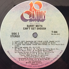 BARRY WHITE:CAN'T GET ENOUGH(LABEL SIDE-B)