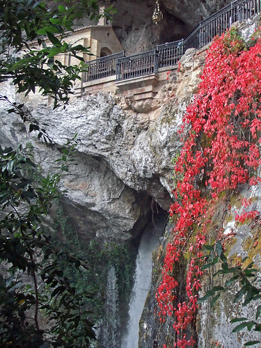 The shrine sits over a waterfall in Covadonga, a village in Northern Spain