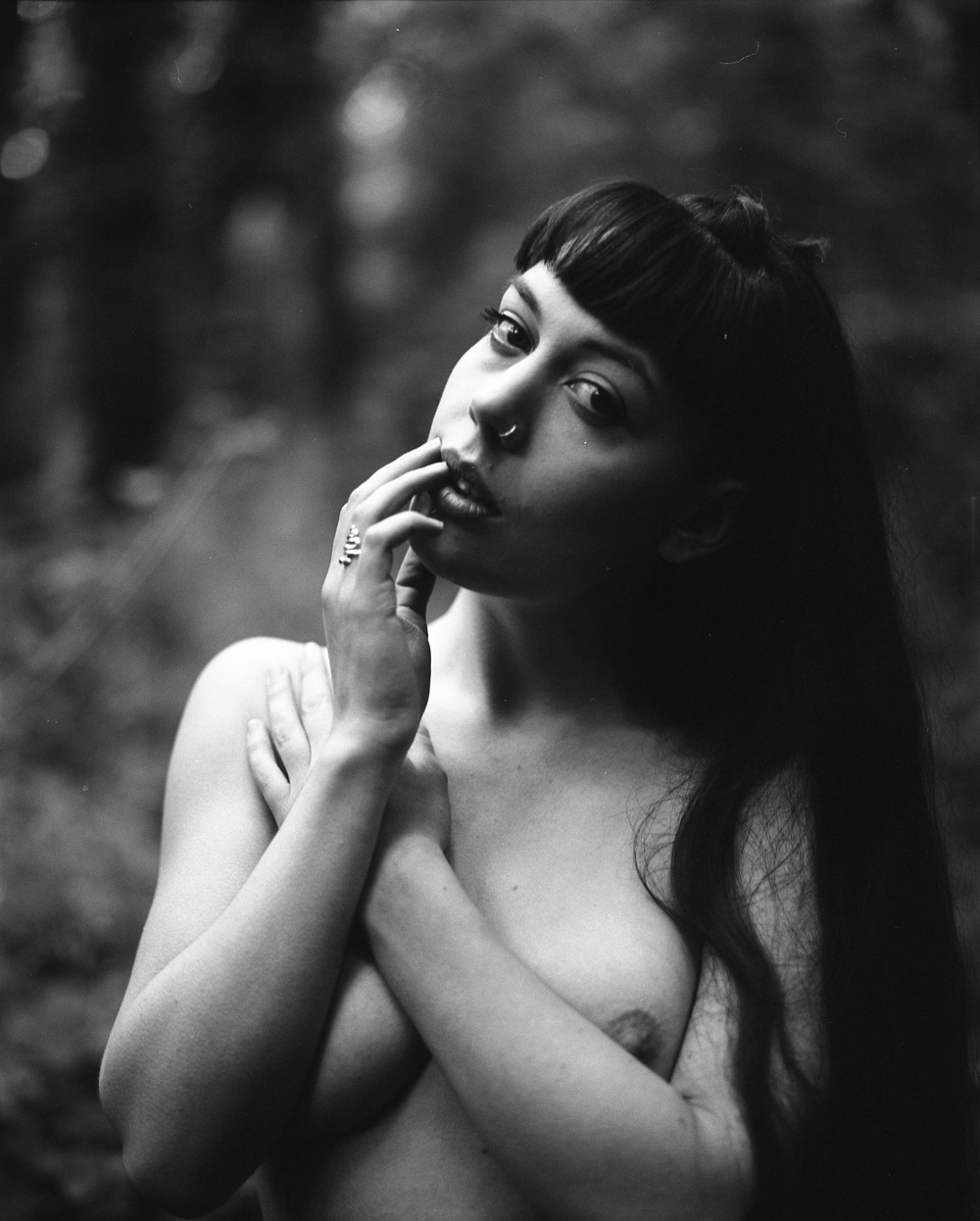 Gestalta photographed by Selina Mayer. Monochrome artistic nude image shot in the forest
