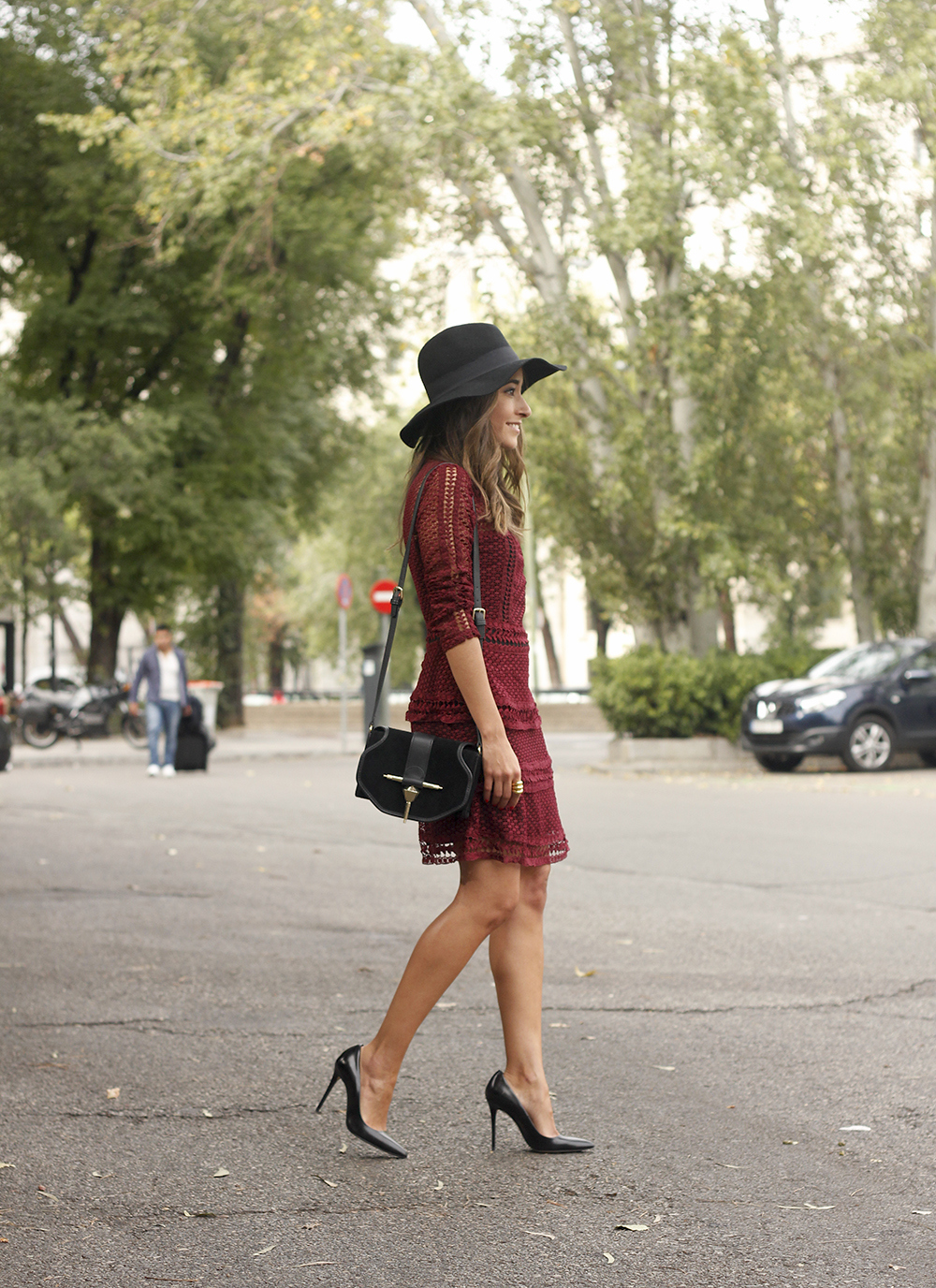 burgundy lace dress black heels hat accessories outfit fashion style11