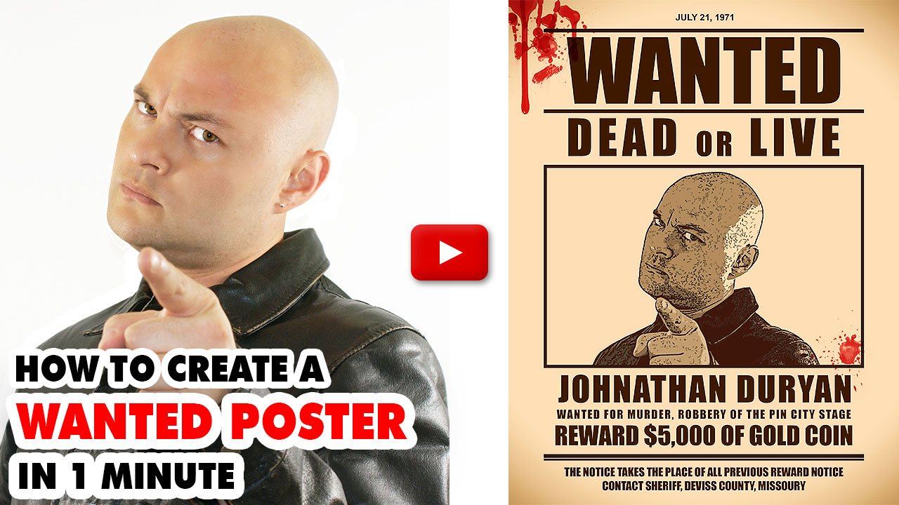 Wanted Poster Photoshop Action ( 8.5x11 Inch )