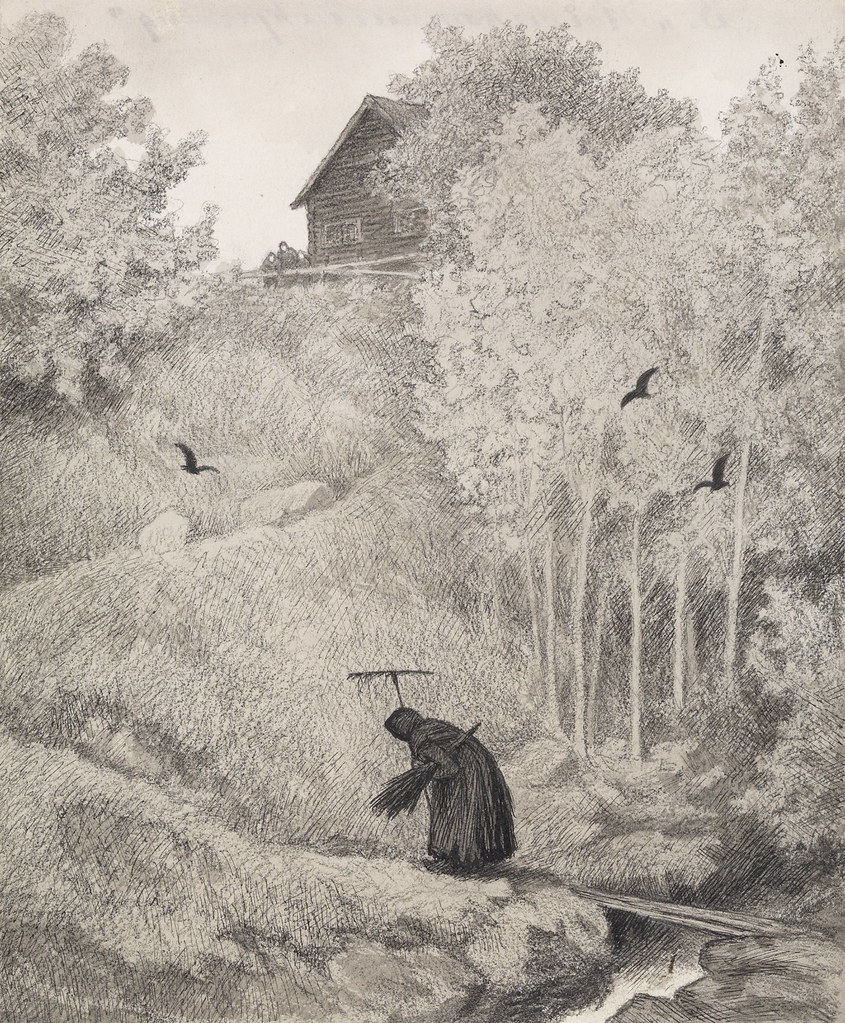 "Theodor Kittelsen - Illustration of the Black Death, ""Mother there comes a bitch."" 1900"
