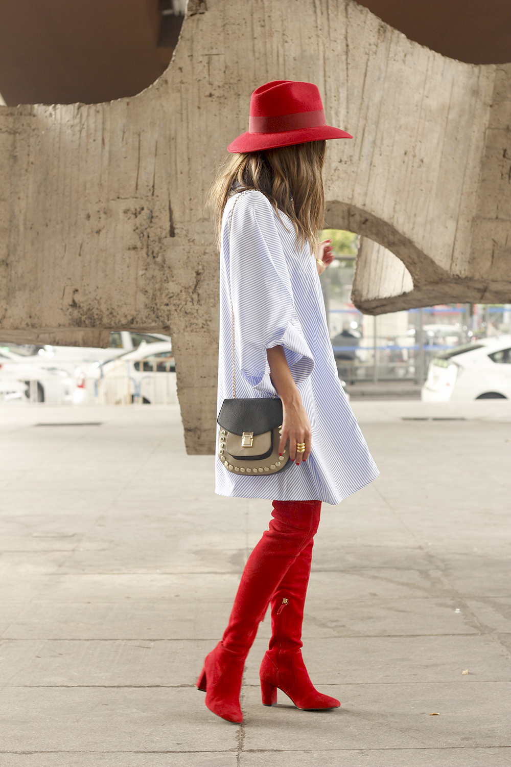 striped dress red over the knee boots red hat accessories fashion outfit style autumn08