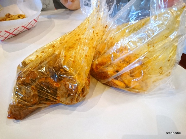 Seafood in plastic bags