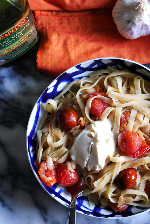 Garlicky Fettuccine with Tomatoes, White Beans, and Mascarpone