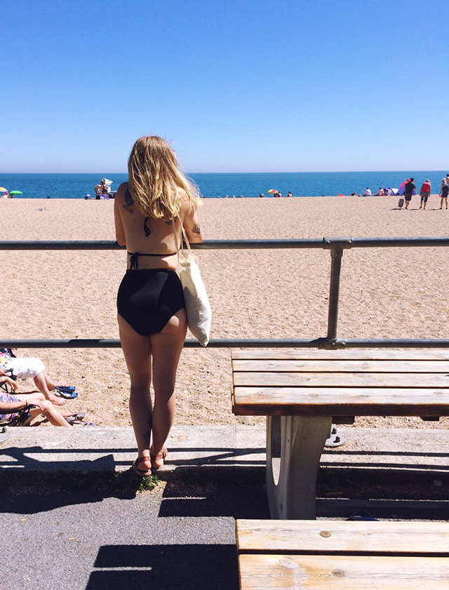 Girl in bikini at Blackpool Sands, Devon. Lyzi.