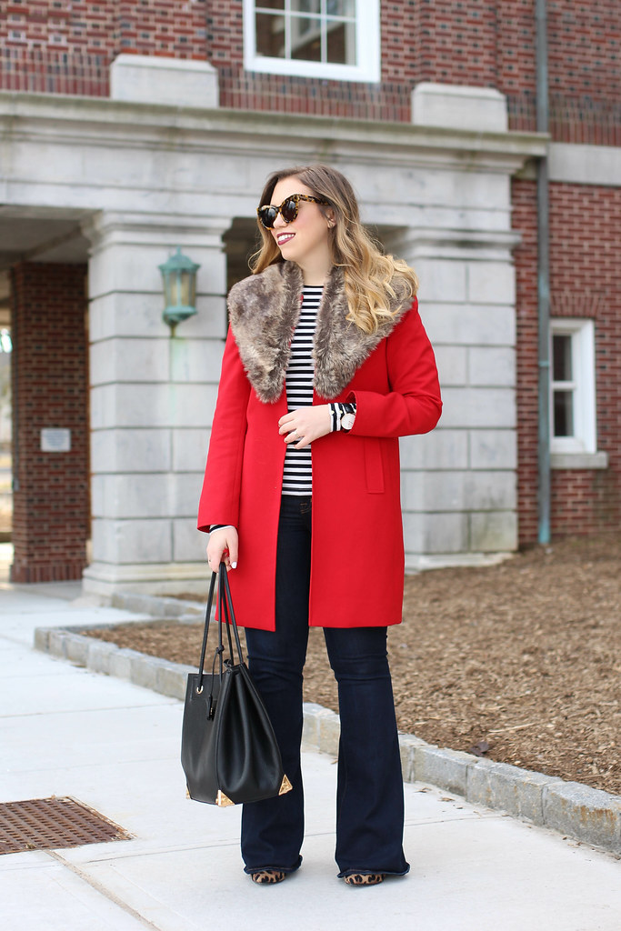Red Coat | Fur Collar | Flare Jeans | Striped Shirt | Fall Outfit