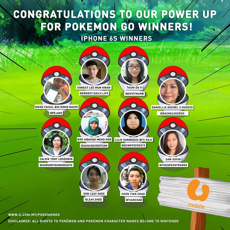 U Mobile Power Up for Pokémon Go Campaign Winners