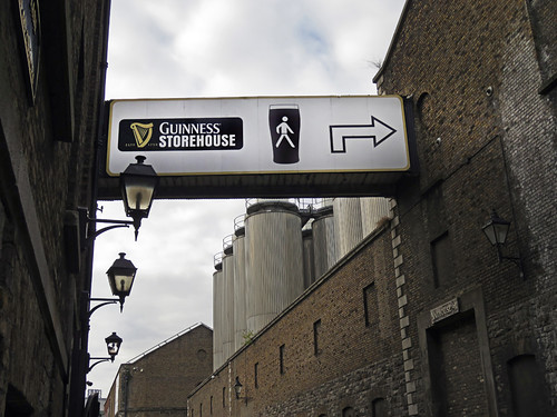 An exterior walkway at the Guinness Storehouse at St. James's Gate Brewery in Dublin, Ireland