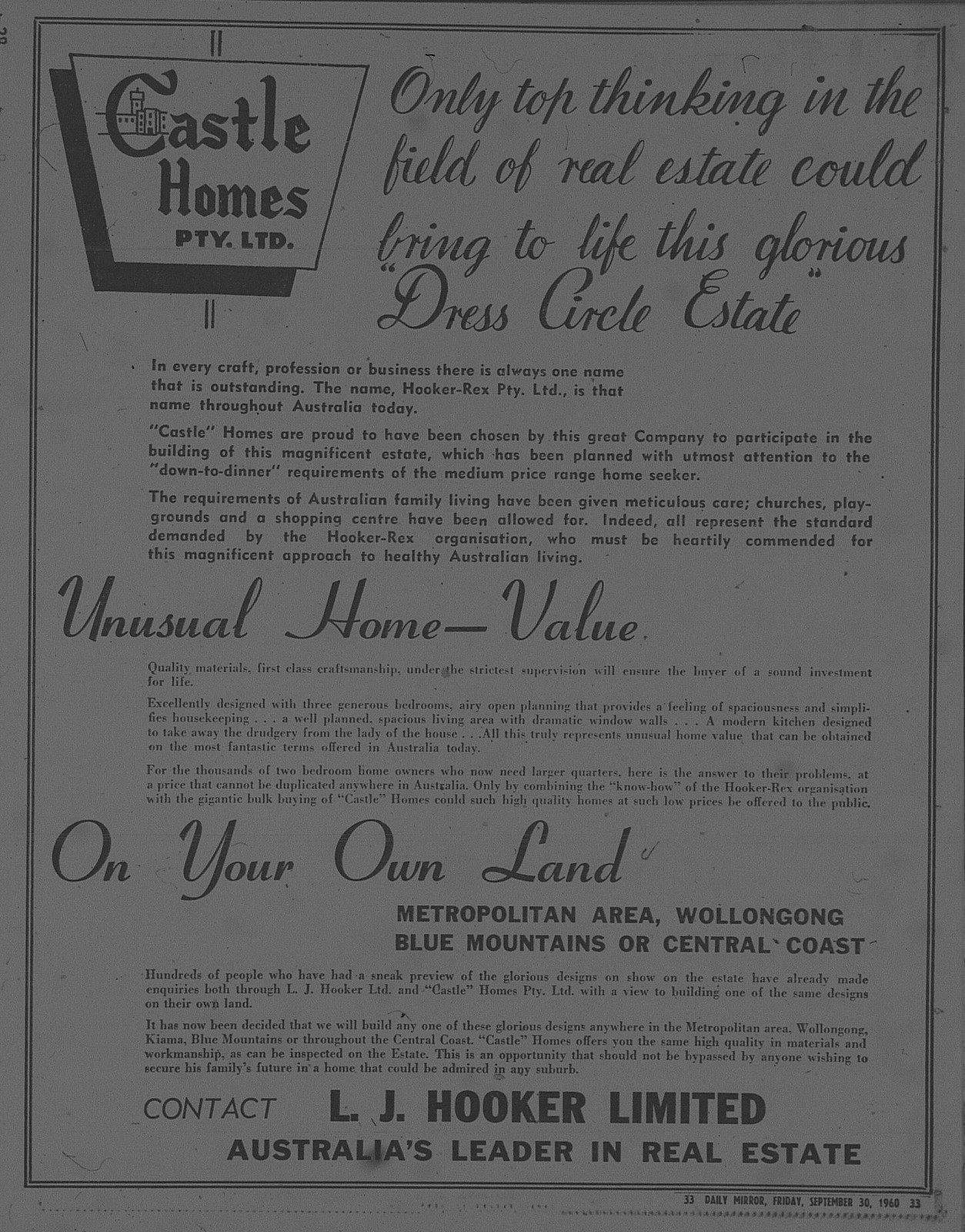 Castle Homes Ad September 30 1960 daily mirror 33