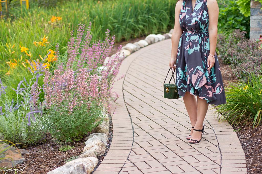 Silk floral print dress, vintage box handbag, black sandals-2.jpg