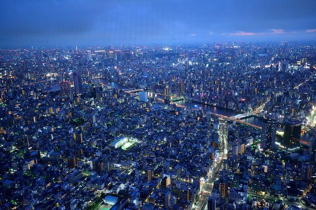 スカイツリー展望台から隅田川を撮った写真