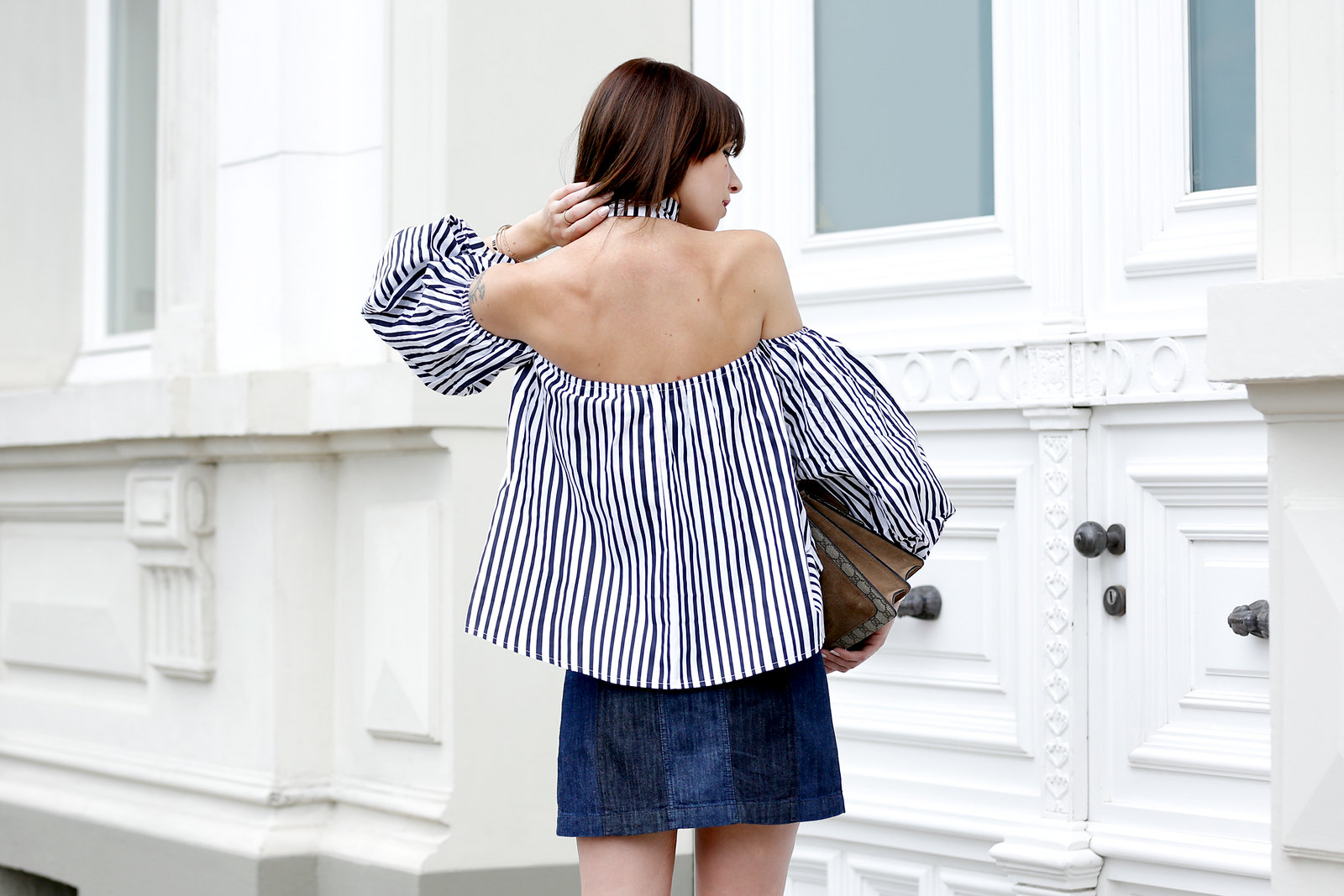 ootd outfit potd lookbook storets off shoulder stripe blouse chic mini denim skit seventies gucci dionysus bag luxury blogger fashionblog cats & dogs modeblogger berlin ricarda schernus dusseldorf fashionblog 2