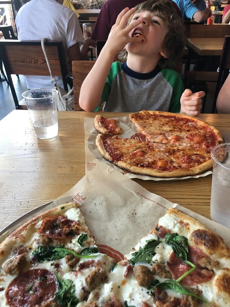 Eating at Blaze Pizza