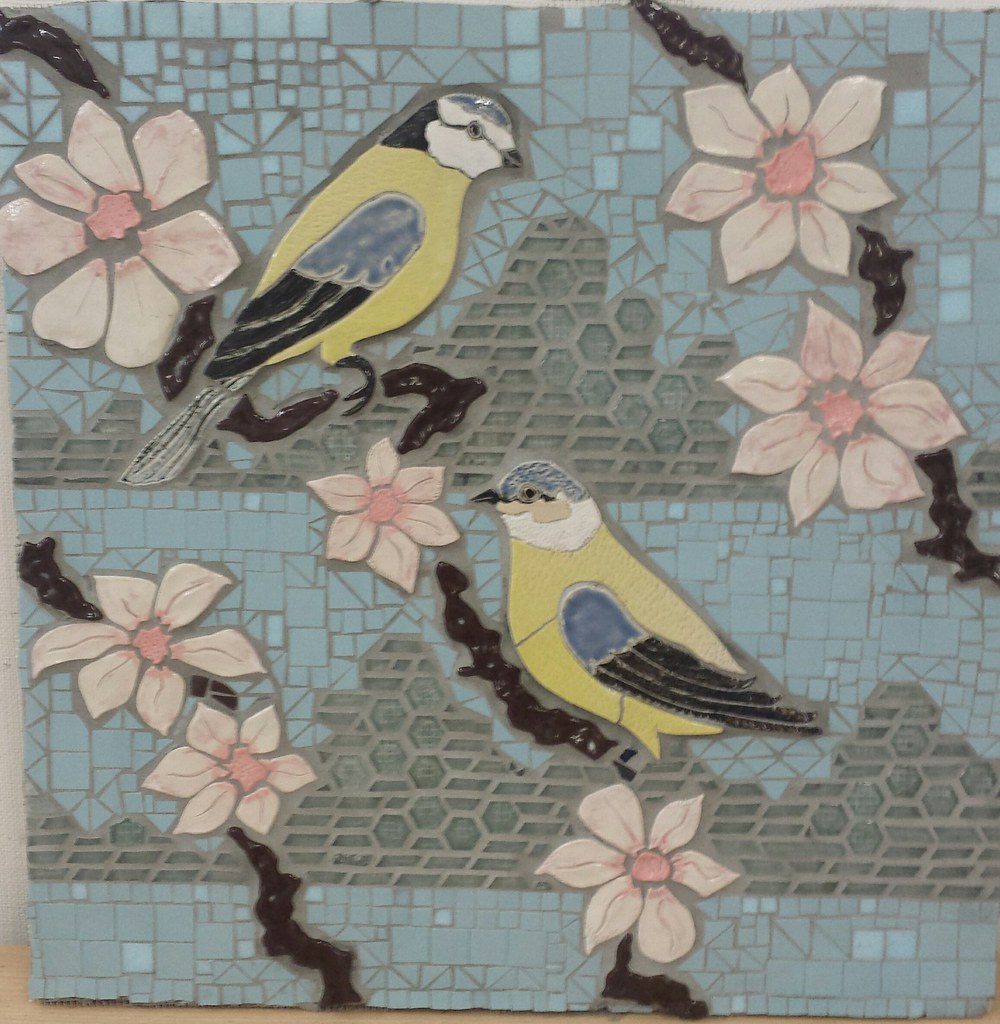 SPRING the 4 seasons mosaic and ceramics panels project for Vauxhall Gardens Estate
