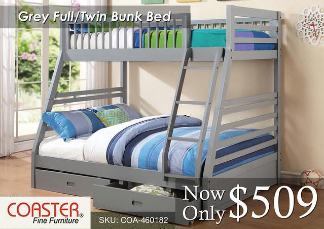 Grey Full-Twin Bunk Coaster