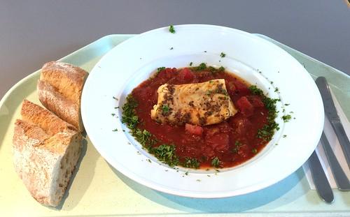 Codfish sicilian style with ciabatta / Kabeljau auf sizilianische Art mit Ciabatta