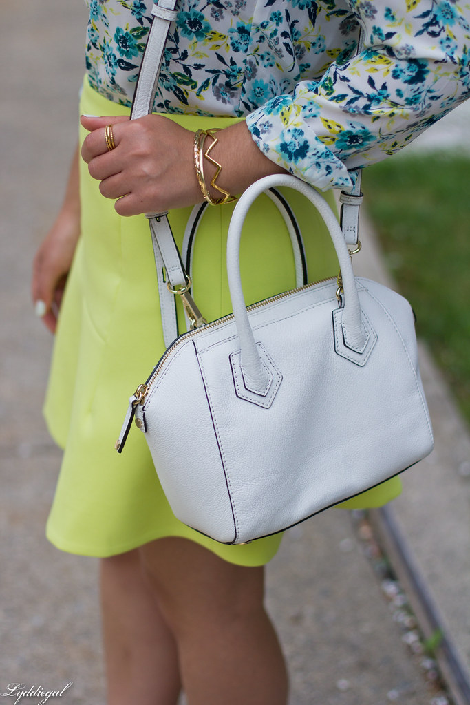 floral blouse, neon skirt, white bag, gorjana vista cuff-5.jpg