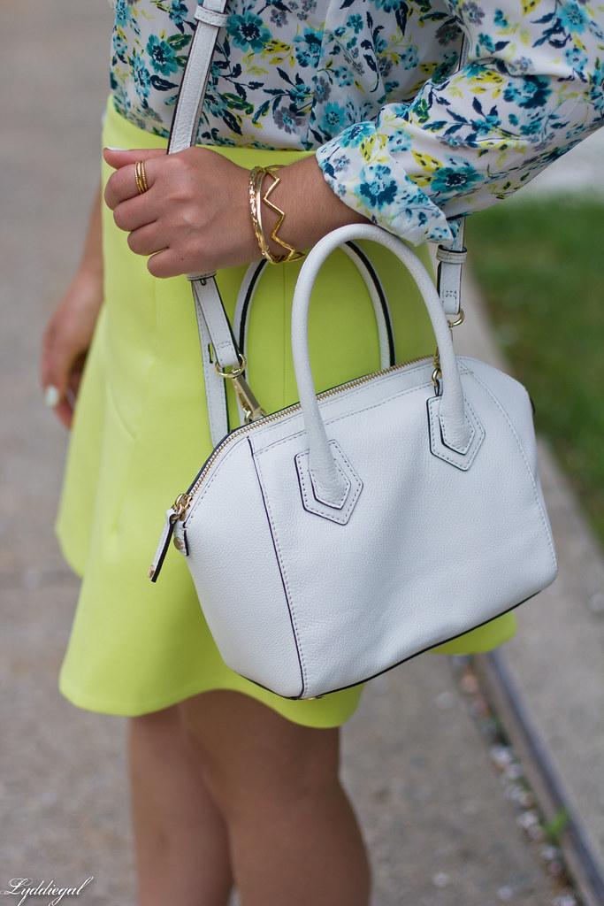 floral blouse, neon skirt, white bag, gorjana vista cuff-5.jpg