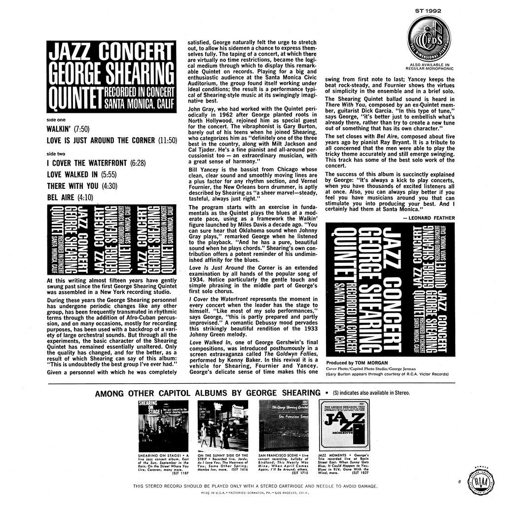 George Shearing - Jazz Concert