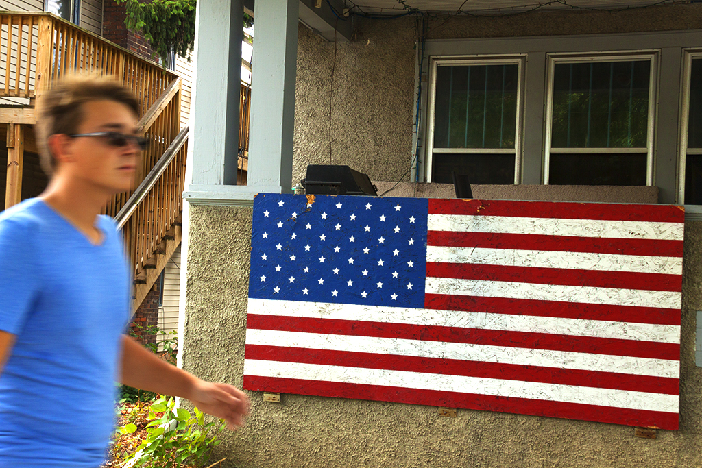 American flag painted on chipboard--Ann Arbor