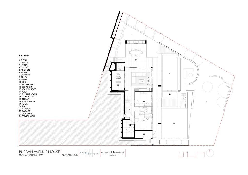 Трехэтажный дом в Сиднее. План первого этажа